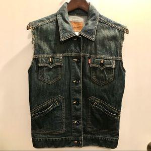 Levi's Denim Moto Vest Jacket Size L